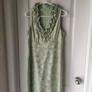 London Times Green Ruffle Dress (10)